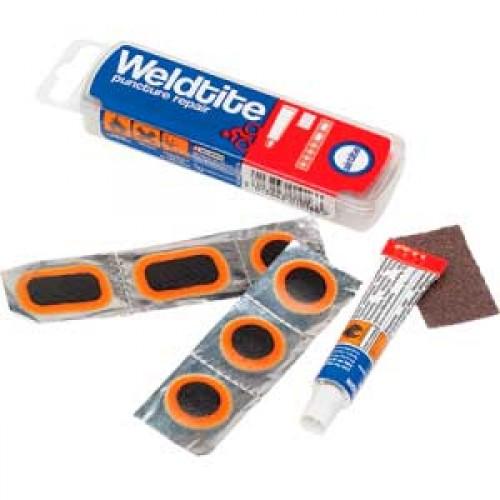 Аптечка, 2 круглые заплатки 26мм, 4 заплатки 25х34мм, 1 заплатку 34х51мм, клей 10мл, ниппель, метал.