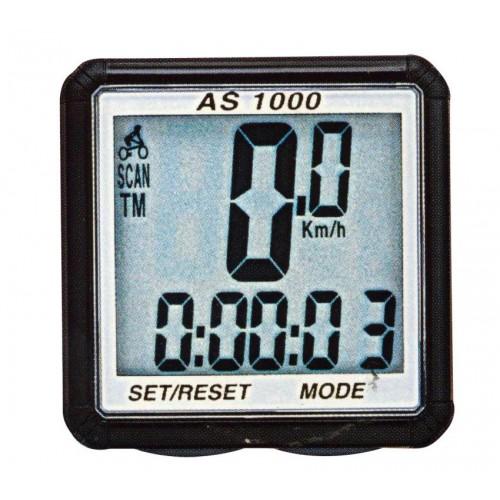 Компьютер AS-1000, беспроводной, 8 функций, двухстрочный дисплей, серебрянная оправа дисплея, в