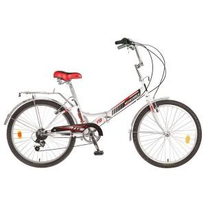 """Велосипед NOVATRACK 24"""" белый, складной, красный, FS, 6-скор."""