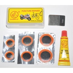 Аптечка, 6 заплаток:  ø15mm -2шт, ø20mm-2шт, ø25mm-2шт, клей 5мл, зачистка, в пластик коробочке.