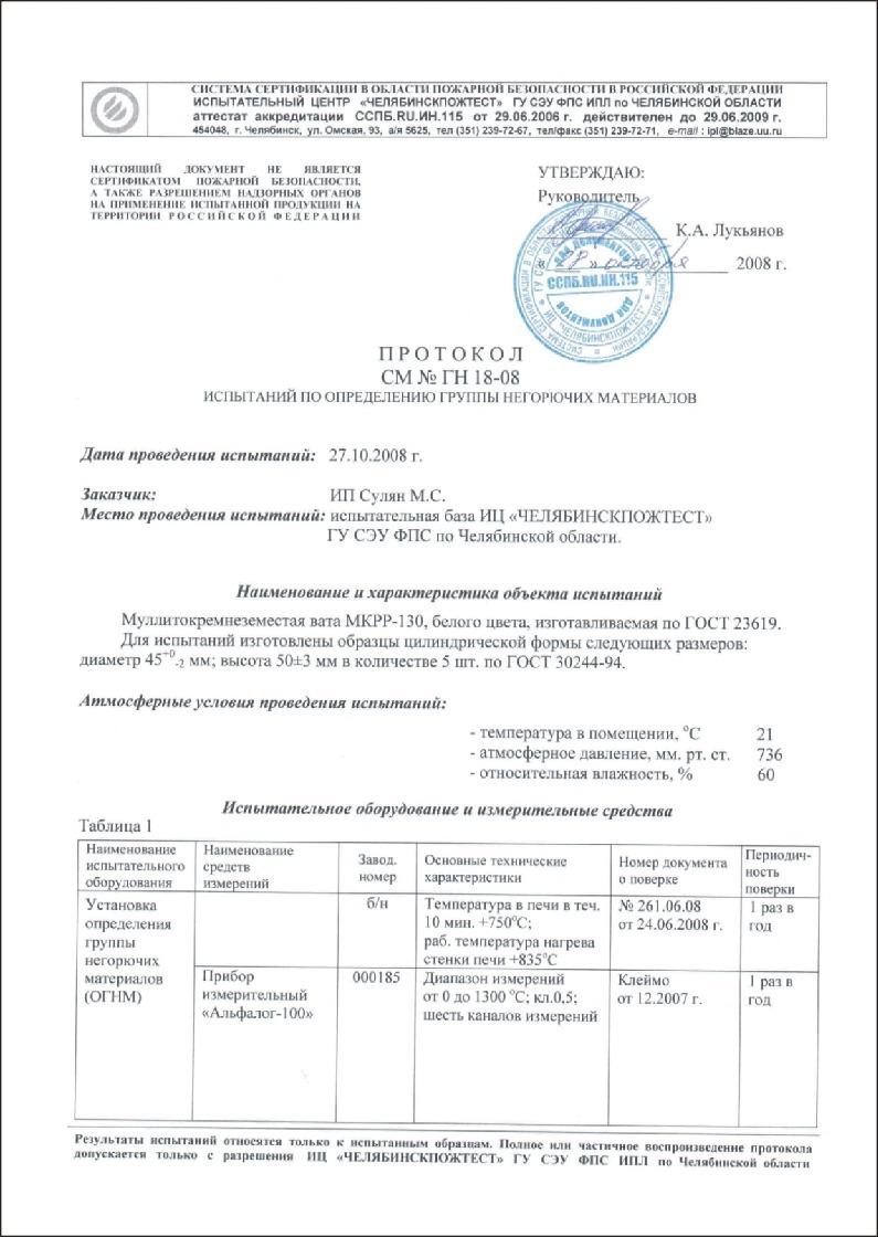 Автотепло - протокол испытаний